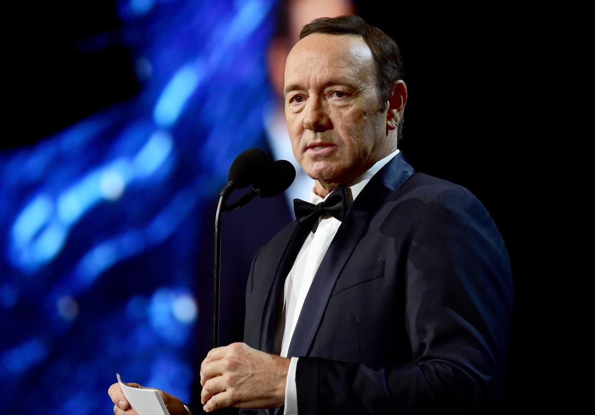 OCTOBER 27: Kevin Spacey speaks onstage at the 2017 AMD British Academy Britannia Awards Presented by American Airlines And Jaguar Land Rover at The Beverly Hilton Hotel on October 27, 2017 in Beverly Hills, California.