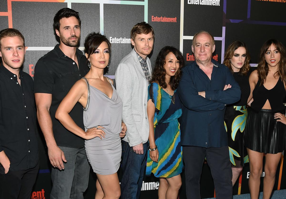 """Actors Iain De Caestecker and Brett Dalton, actress Ming-Na Wen, executive producers Jed Whedon, Maurissa Tancharoen and Jeph Loeb, and actresses Elizabeth Henstridge and Chloe Bennet from Marvel's """"Agents of S.H.I.E.L.D."""" attend Entertainment Weekly's annual Comic-Con celebration at Float at Hard Rock Hotel San Diego on July 26, 2014 in San Diego, California"""