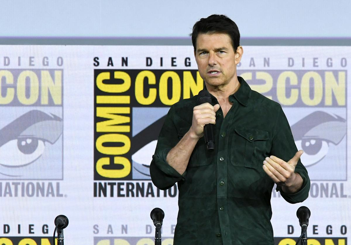 """Tom Cruise makes a surprise appearance to discuss """"Top Gun: Maverick"""" during 2019 Comic-Con International at San Diego Convention Center on July 18, 2019 in San Diego, California"""