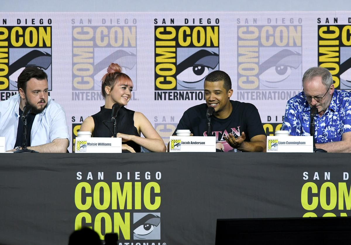 """John Bradley, Maisie Williams, Jacob Anderson and Liam Cunningham speak at the """"Game Of Thrones"""" Panel And Q&A during 2019 Comic-Con International at San Diego Convention Center on July 19, 2019 in San Diego, California."""