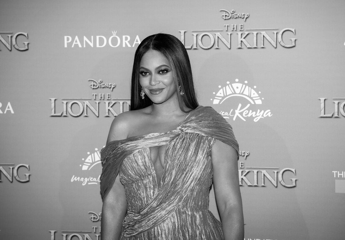 "Image has been converted to black and white) Beyonce Knowles-Carter attends the European Premiere of Disney's ""The Lion King"""