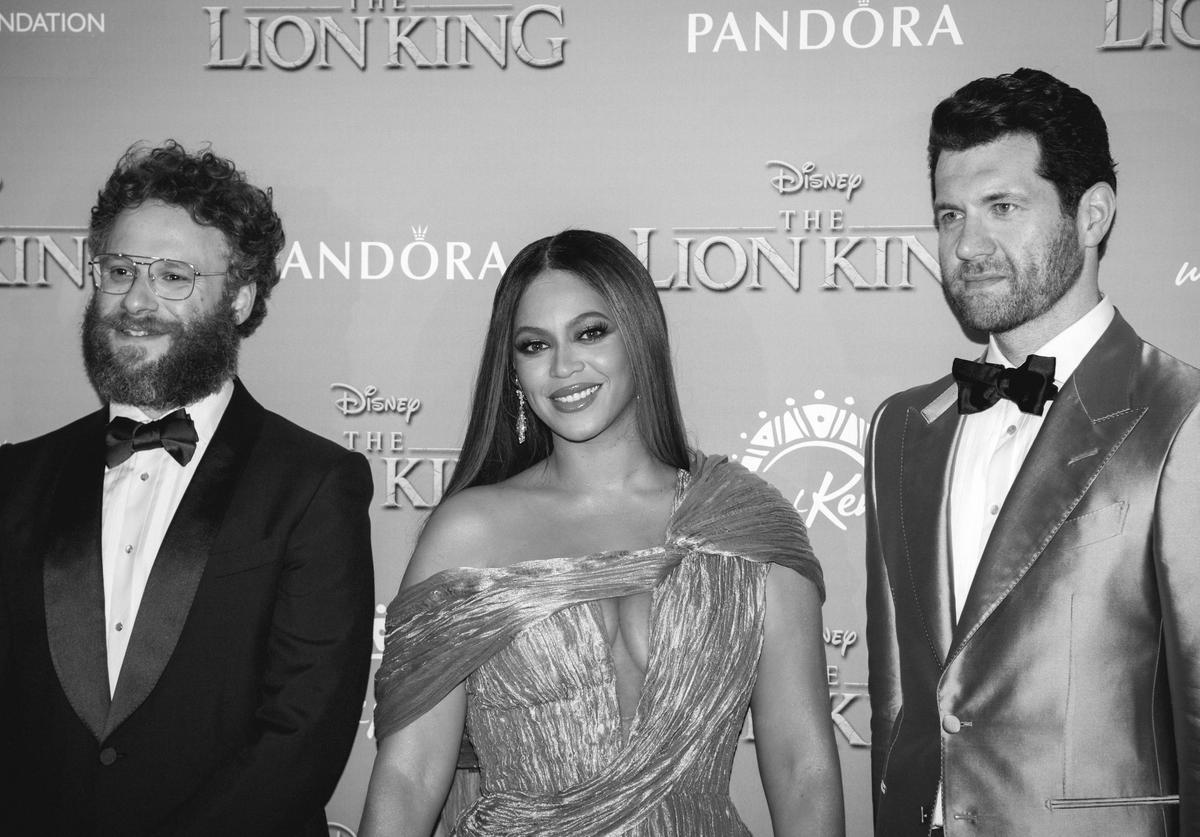 """(EDITORS NOTE: Image has been converted to black and white) (L-R) Seth Rogen, Beyonce Knowles-Carter and Billy Eichner attend the European Premiere of Disney's """"The Lion King"""""""