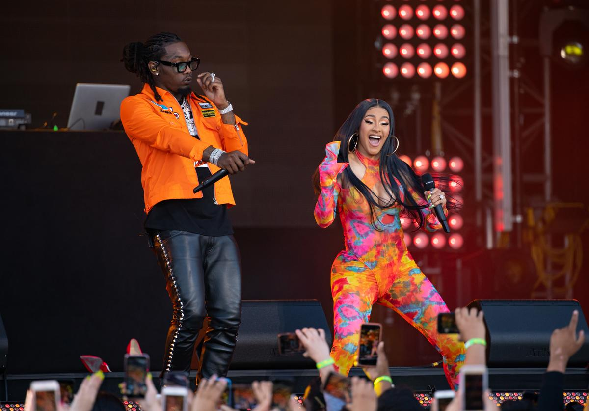 Cardi B and Offset are seen at 'Jimmy Kimmel Live' on July 17, 2019 in Los Angeles, California.