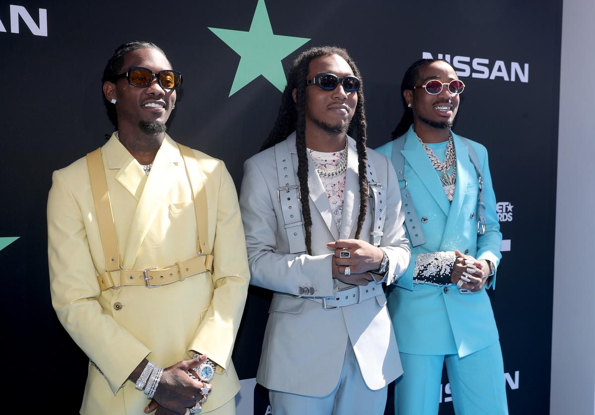 Offset, Takeoff and Quavo of Migos attend the 2019 BET Awards at Microsoft Theater on June 23, 2019 in Los Angeles, California.