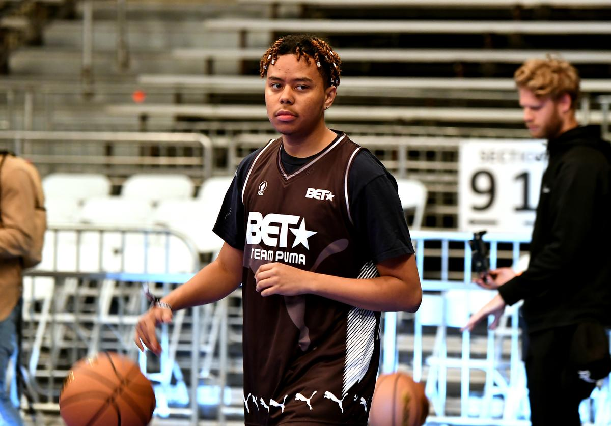 YBN Cordae plays in the BETX Celebrity Basketball Game Sponsored By Sprite during the BET Experience at Los Angeles Convention Center on June 22, 2019 in Los Angeles, California
