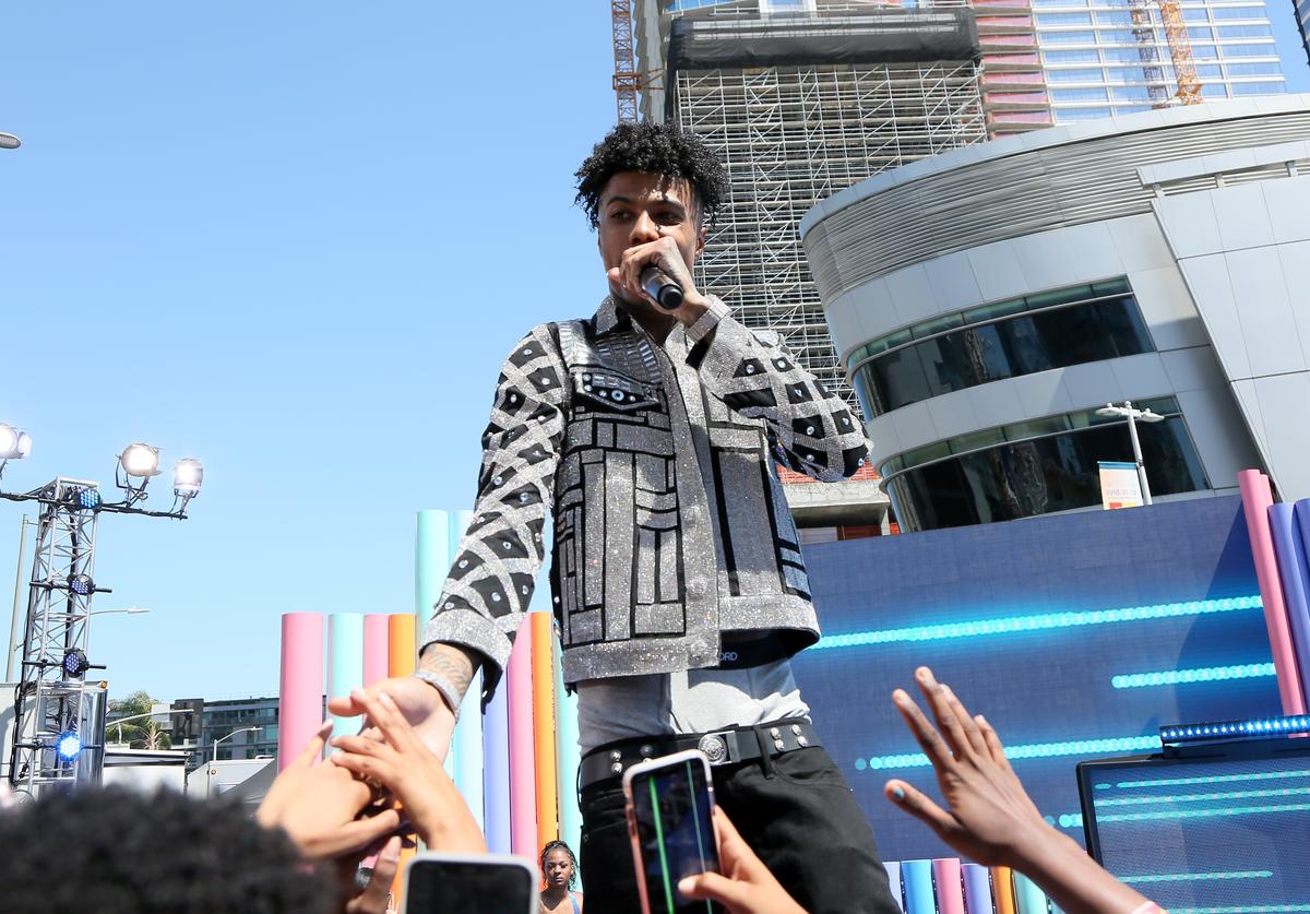 Blueface performs onstage during the Pre Show at the 2019 BET Awards at Microsoft Theater on June 23, 2019 in Los Angeles, California