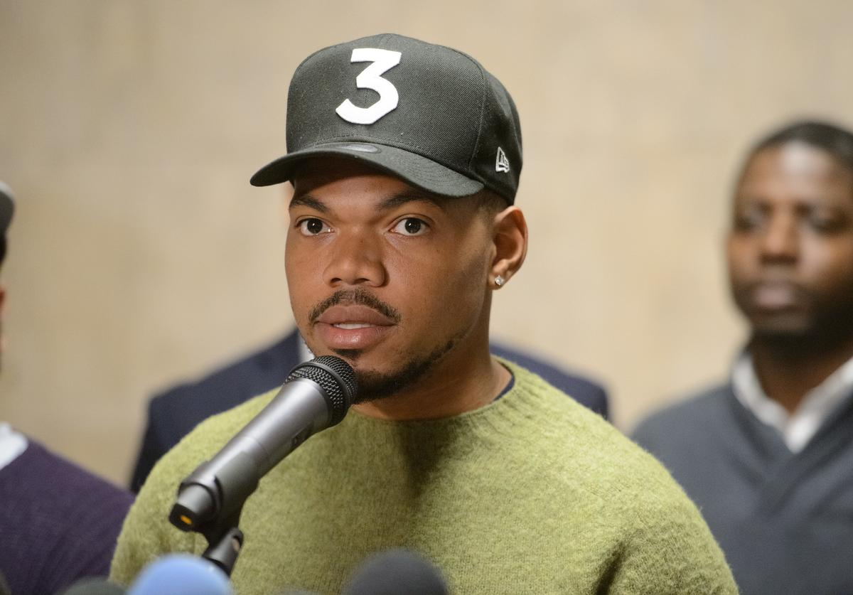 Chance the Rapper holds a press conference endorsing Toni Preckwinkle for Mayor of Chicago at City Hall on March 21, 2019 in Chicago, Illinois