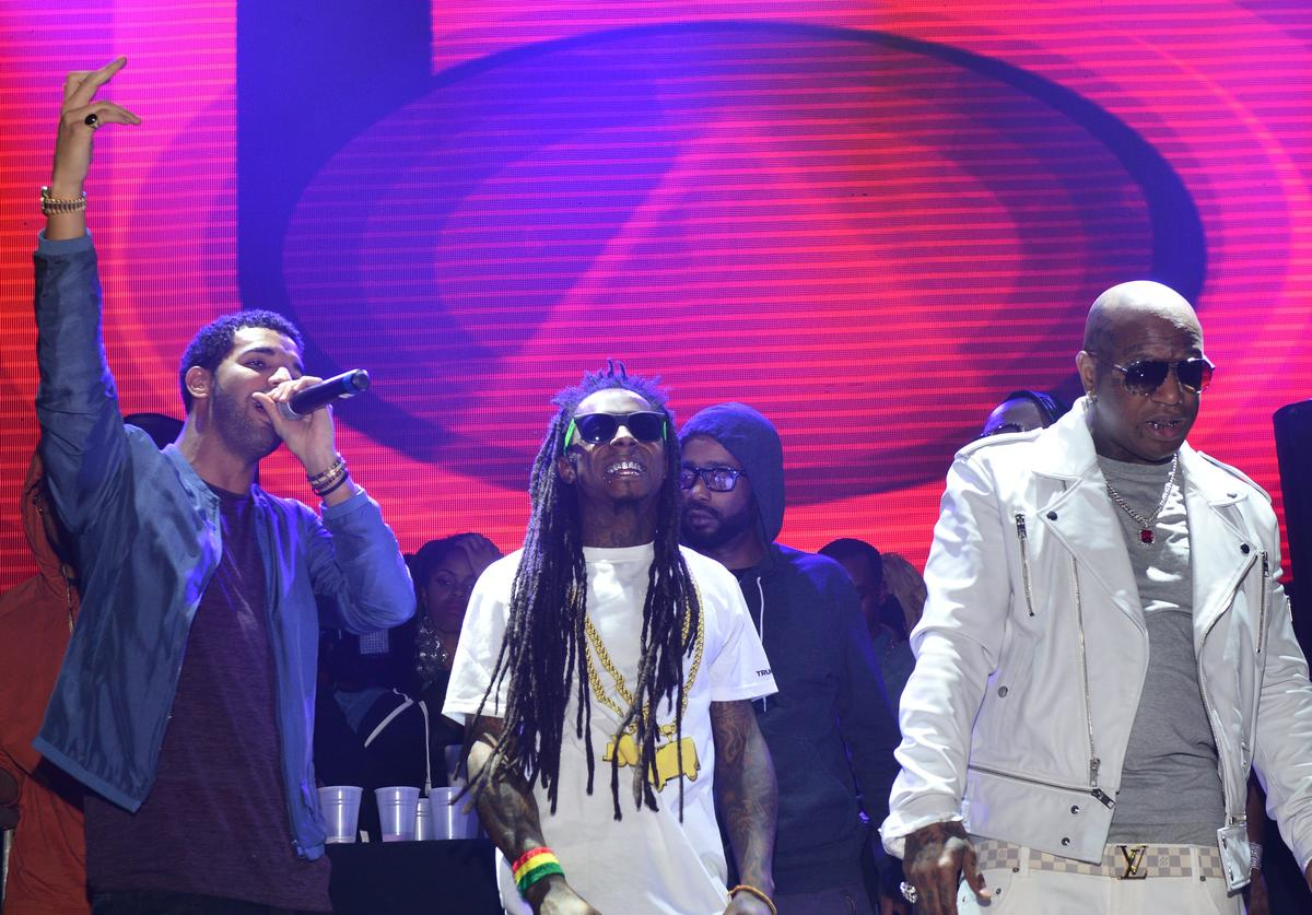 Drake, Lil Wayne and Birdman perform at Stereo Live at Lil Wayne Hosted Party at February 17, 2013 in Houston, Texas