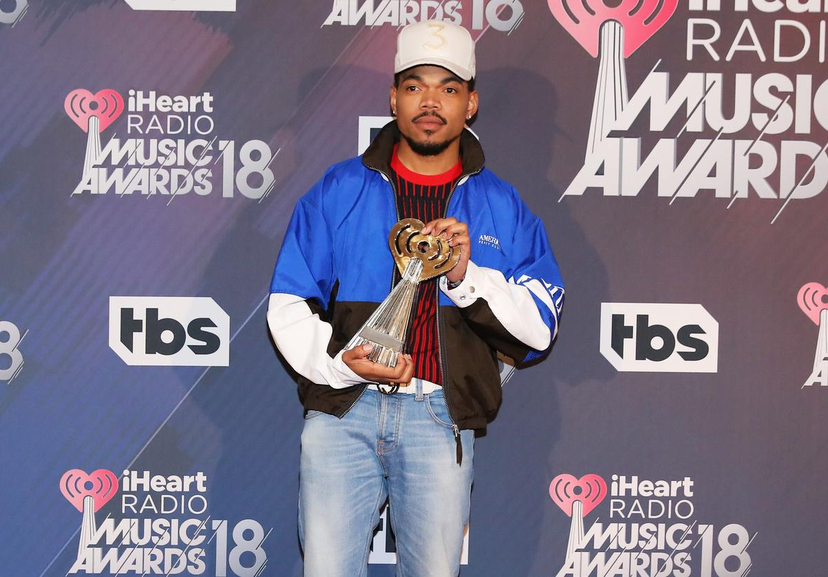 Chance the Rapper, recipient of the Innovator Award, poses in the press room during the 2018 iHeartRadio Music Awards which broadcasted live on TBS, TNT, and truTV at The Forum on March 11, 2018 in Inglewood, California