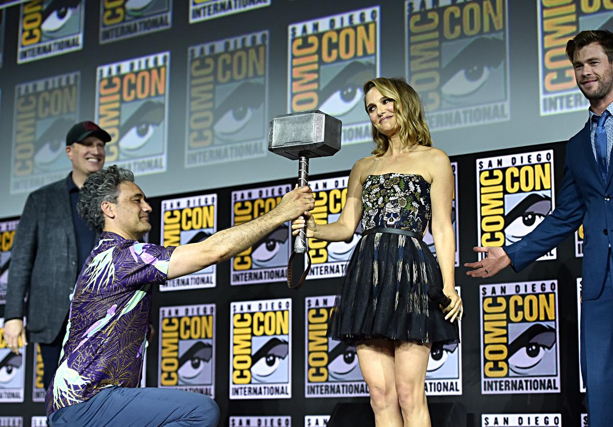 President of Marvel Studios Kevin Feige, Director Taika Waititi, Natalie Portman and Chris Hemsworth of Marvel Studios' 'Thor: Love and Thunder' at the San Diego Comic-Con International 2019 Marvel Studios Panel in Hall H on July 20, 2019 in San Diego, California.