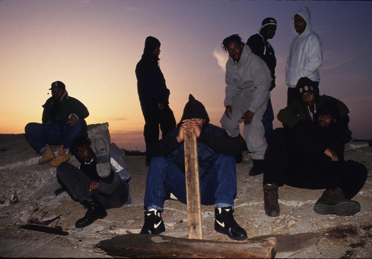 Rap group Wu-Tang Clan poses for a portrait on May 8, 1993 on Staten Island in New York City, New York.