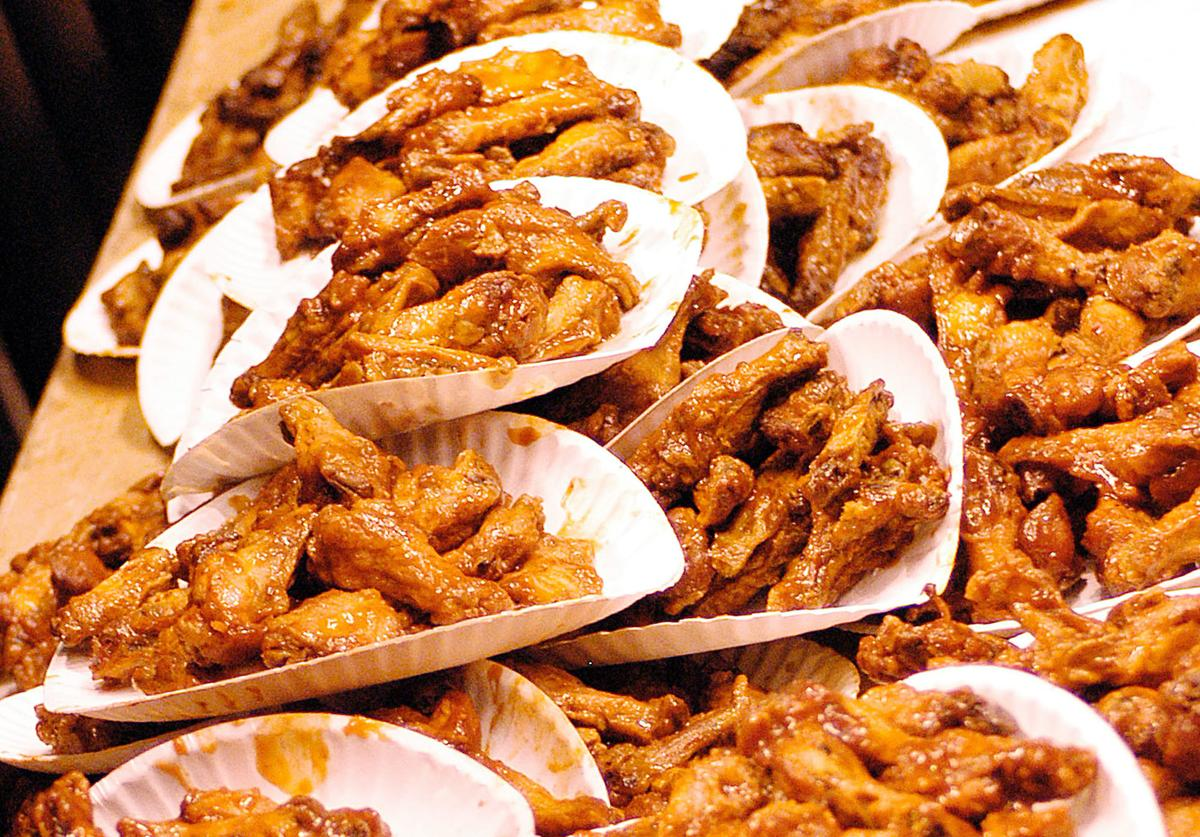 Buffalo Wings are stacked up before the competition begins at the 12th Annual Wing Bowl on January 30, 2004 in Philadelphia, Pennsylvania.