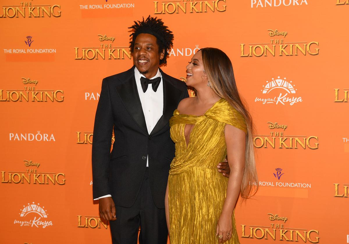 "Beyonce Knowles-Carter and Jay-Z attend the European Premiere of Disney's ""The Lion King"" at Odeon Luxe Leicester Square on July 14, 2019 in London, England"