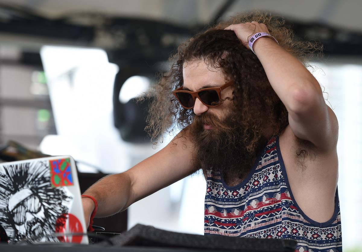 DJ/producer The Gaslamp Killer performs during Rock in Rio USA at the MGM Resorts Festival Grounds on May 9, 2015 in Las Vegas, Nevada.