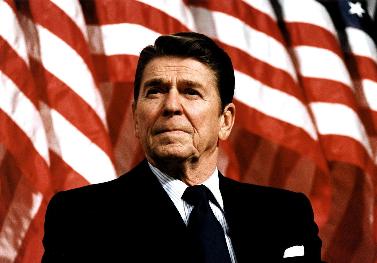Former U.S. President Ronald Reagan speaks at a rally for Senator Durenberger February 8, 1982. Reagan turns 93 on February 6, 2004