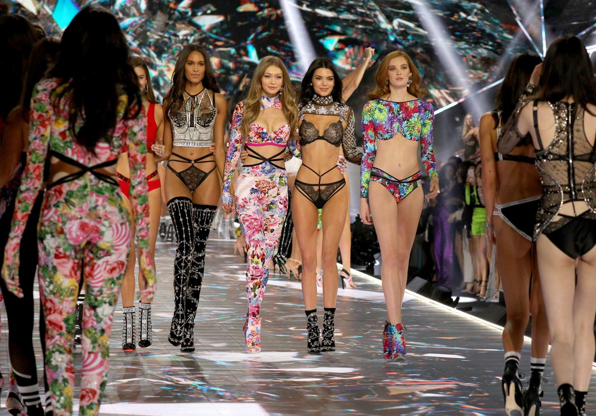 Cindy Bruna, Gigi Hadid, Kendall Jenner, and Alexina Graham walk the runway in the 2018 Victoria's Secret Fashion Show at Pier 94 on November 8, 2018 in New York City