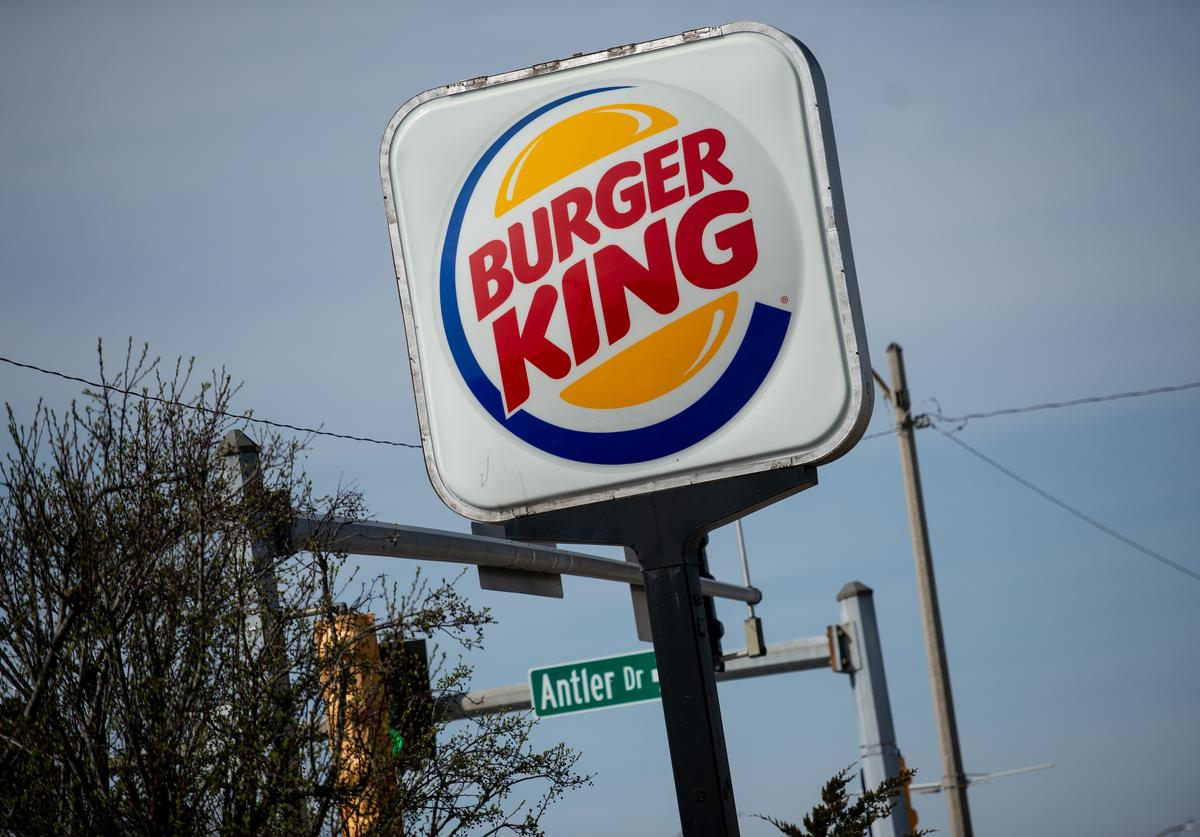 An exterior view of a Burger King restaurant on April 1, 2019 in Richmond Heights, Missouri. Burger King announced on Monday that it is testing out Impossible Whoppers, made with plant-based patties from Impossible Foods, in 59 locations in and around St. Louis area.