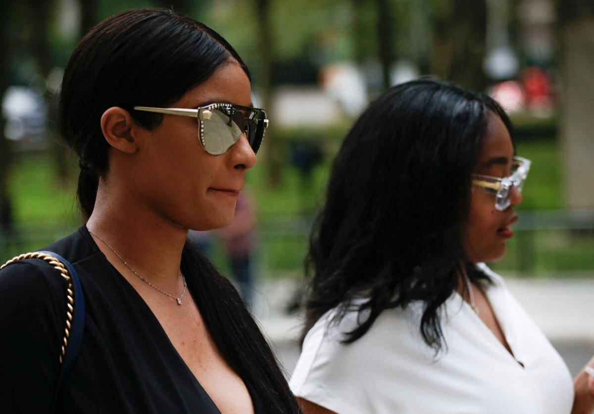 R. Kelly's girlfriends, Jocelyn Savage (L) and Azriel Clary, arrive for the second hearing in the racketeering and sex trafficking case of Kelly at Brooklyn federal court on August 2, 2019 in New York.