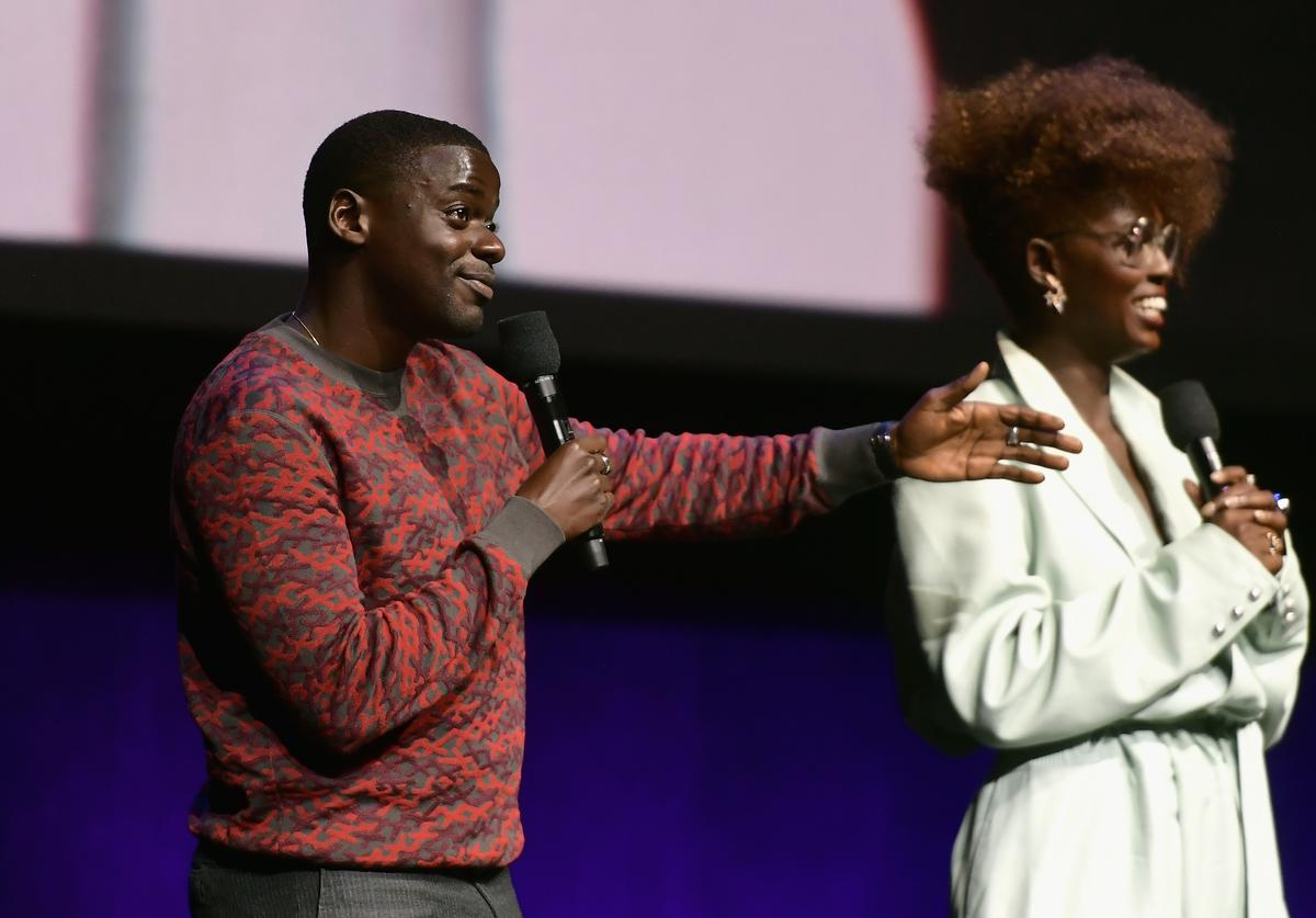 Daniel Kaluuya and Jodie Turner-Smith speak onstage at CinemaCon 2019 Universal Pictures Invites You to a Special Presentation Featuring Footage from its Upcoming Slate at The Colosseum at Caesars Palace