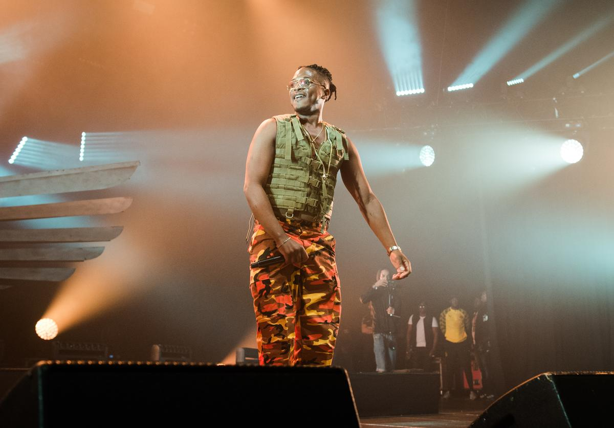Niska performs at Le Zenith on April 24, 2018 in Paris, France.