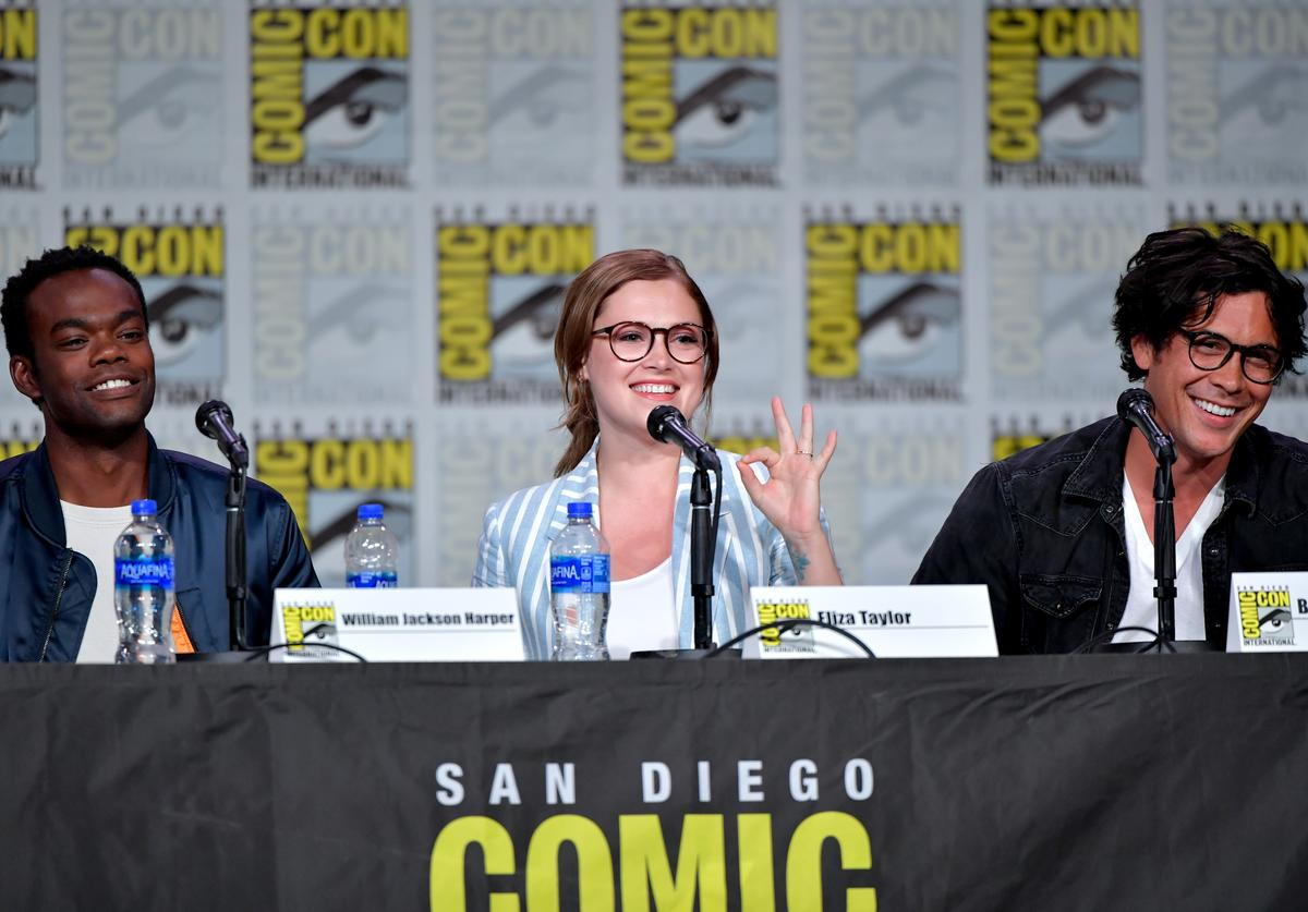 William Jackson Harper, Eliza Taylor and Bob Morley speak at the TV Guide Magazine Fan Favorites 2019 during 2019 Comic-Con International at San Diego Convention Center