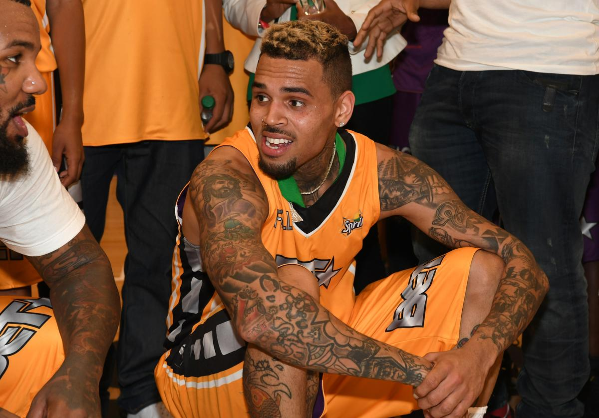 Chris Brown at the Celebrity Basketball Game, presented by Sprite and State Farm, during the 2017 BET Experience, at Los Angeles Convention Center on June 24, 2017 in Los Angeles, California.