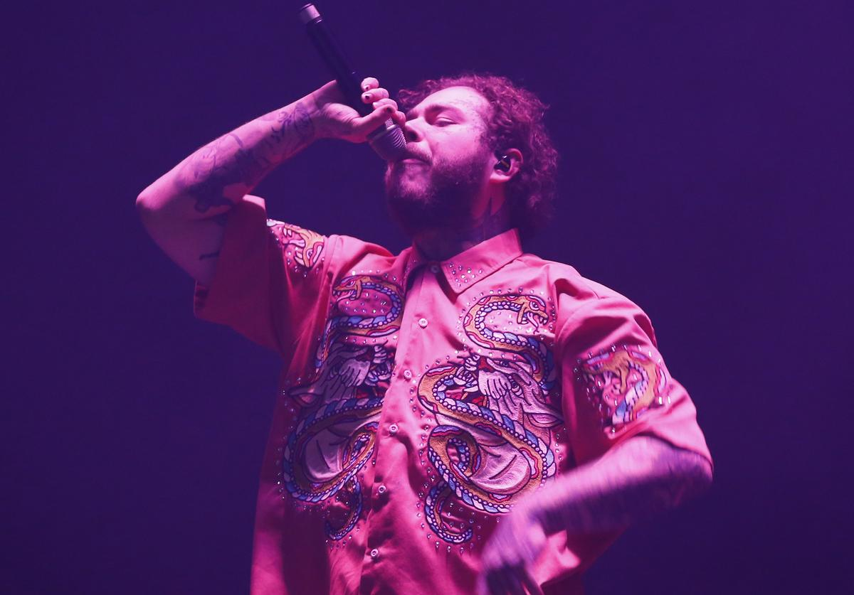 Post Malone performs during day 2 of Lollapalooza Chile 2019 at parque O'higgins on March 30, 2019 in Santiago, Chile