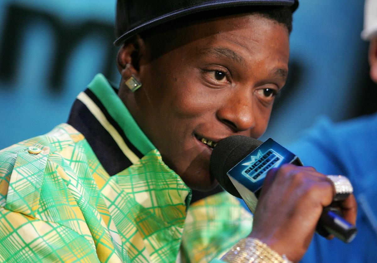 Lil Boosie appears onstage during a taping of MTV's Sucker Free at MTV studios in Times Square on January 23, 2007 in New York City