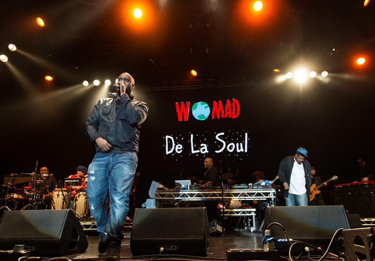 Kelvin Mercer, Vincent Mason and David Jude Jolicoeur of De La Soul perform on the Open Air Stage on day 1 of the WOMAD Festival at Charlton Park on July 24, 2015 in Wiltshire, England.