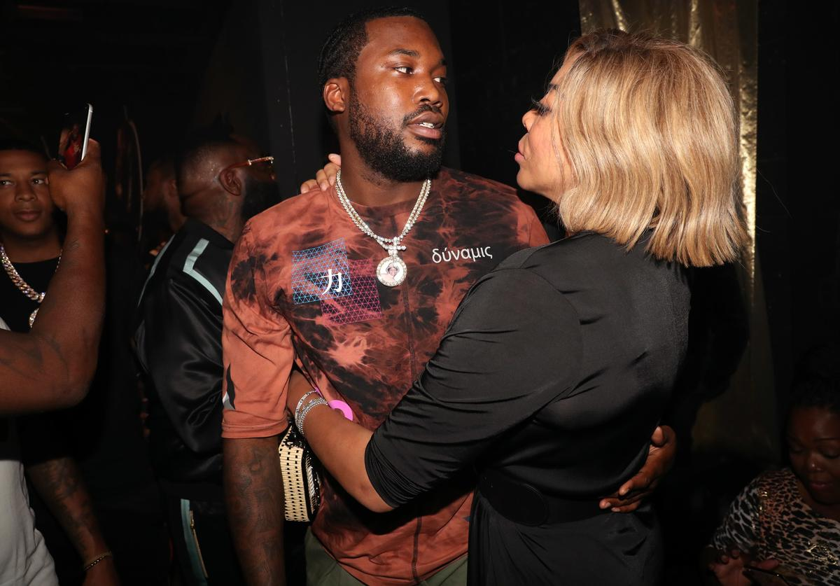 "Meek Mill (L) and Wendy Williams attend the Rick Ross ""Port Of Miami 2"" album release celebration at Villain on August 8, 2019 in New York City."