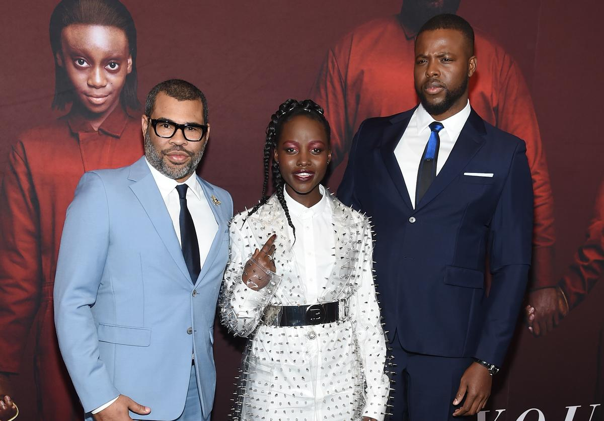 "Jordan Peele, Lupita Nyong'o and Winston Duke attend the ""US"" premiere at Museum of Modern Art on March 19, 2019 in New York City"