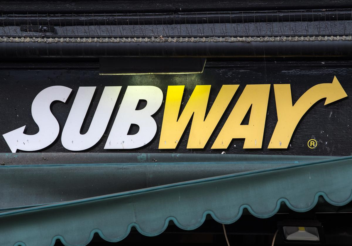 A Subway sign is displayed on a branch on July 4, 2017 in London, England
