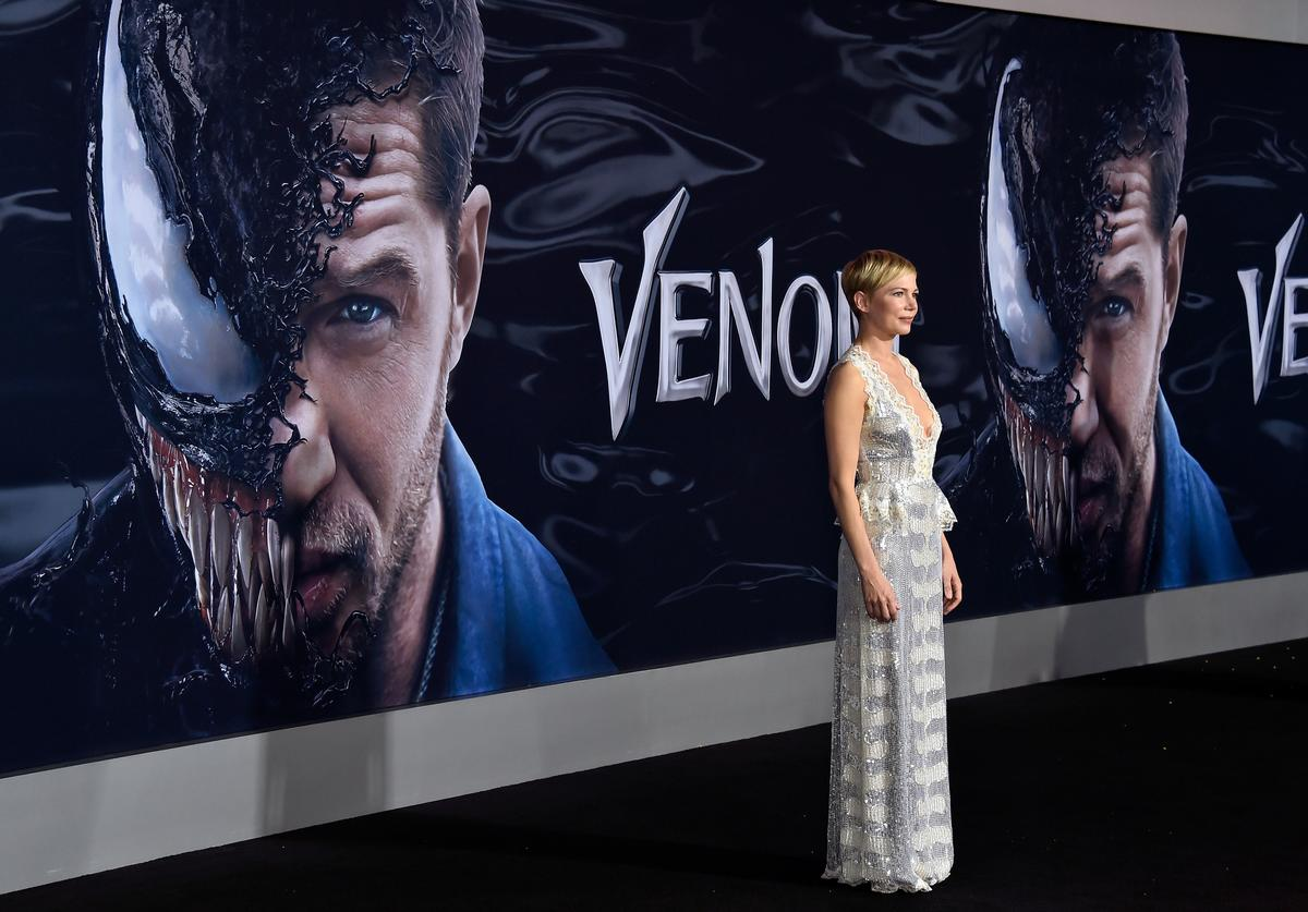 Michelle Williams attends the premiere of Columbia Pictures' 'Venom' at Regency Village Theatre on October 1, 2018 in Westwood, California