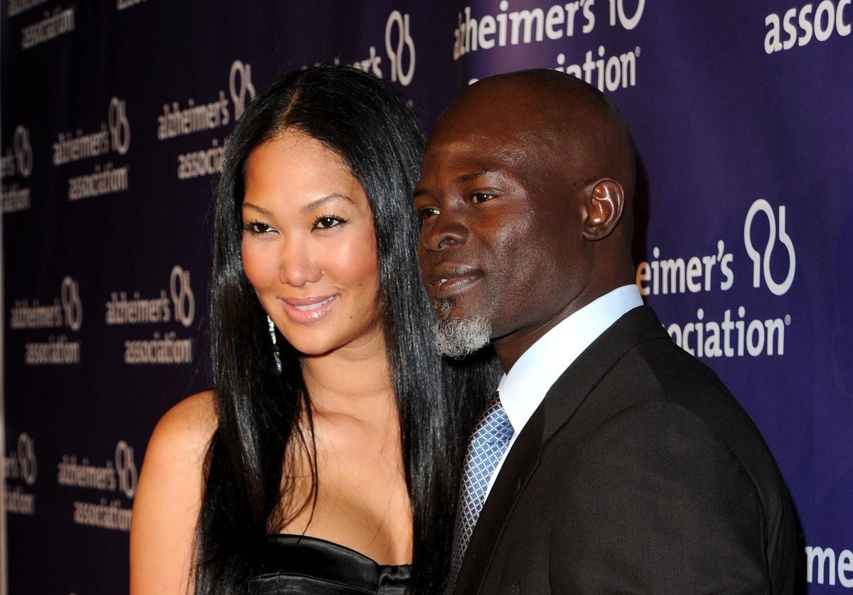 "Kimora Lee (L) and actor Djimon Hounsou arrive at the 19th annual ""A Night At Sardi's"" fundraiser and awards dinner benefitting the Alzheimer's Association at the Beverly Hilton Hotel on March 16, 2011 in Beverly Hills, California."