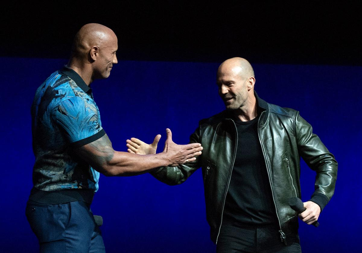 ctors Dwayne Johnson (L) and Jason Statham appear on stage during the CinemaCon Universal Pictures special presentation at the Colosseum Caesars Palace on April 3, 2019, in Las Vegas, Nevada.