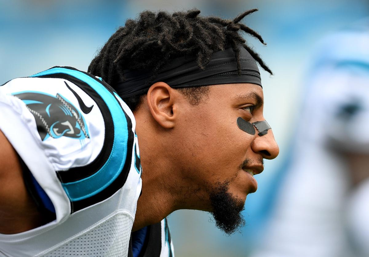Eric Reed #25 of the Carolina Panthers warms up during their game against the New York Giants at Bank of America Stadium on October 7, 2018 in Charlotte, North Carolina.