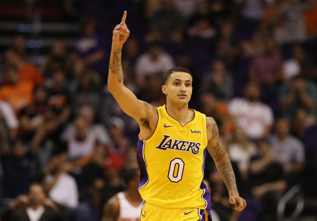Kyle Kuzma #0 of the Los Angeles Lakers reacts during the second half of the NBA game against the Phoenix Suns at Talking Stick Resort Arena on October 20, 2017 in Phoenix, Arizona