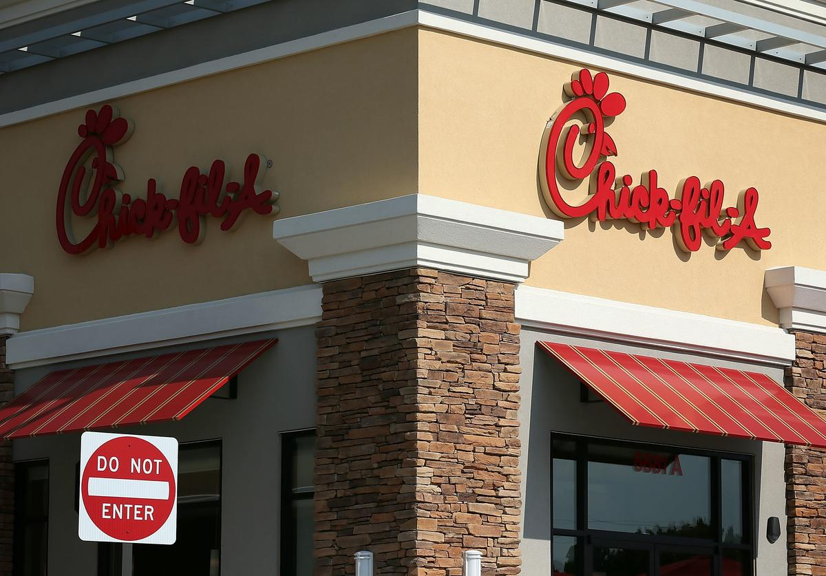 The signs of a Chick-fil-A are seen July 26, 2012 in Springfield, Virginia