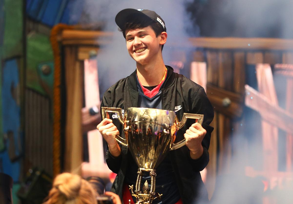 "Kyle ""Bugha"" Giersdorf celebrates after winning the Fortnite World Cup solo final at Arthur Ashe Stadium on July 28, 2019 in New York City."