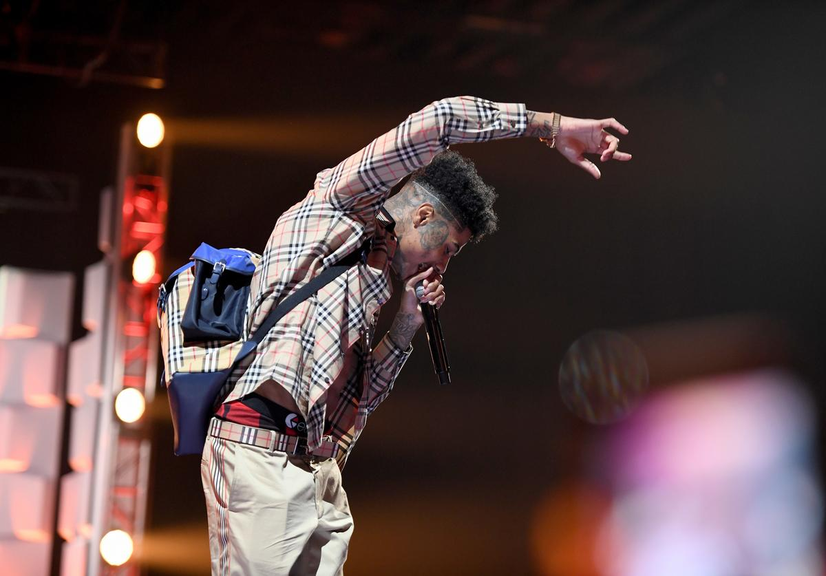 Blueface performs onstage during the 2019 BET Social Awards at Tyler Perry Studio on March 3, 2019 in Atlanta, Georgia