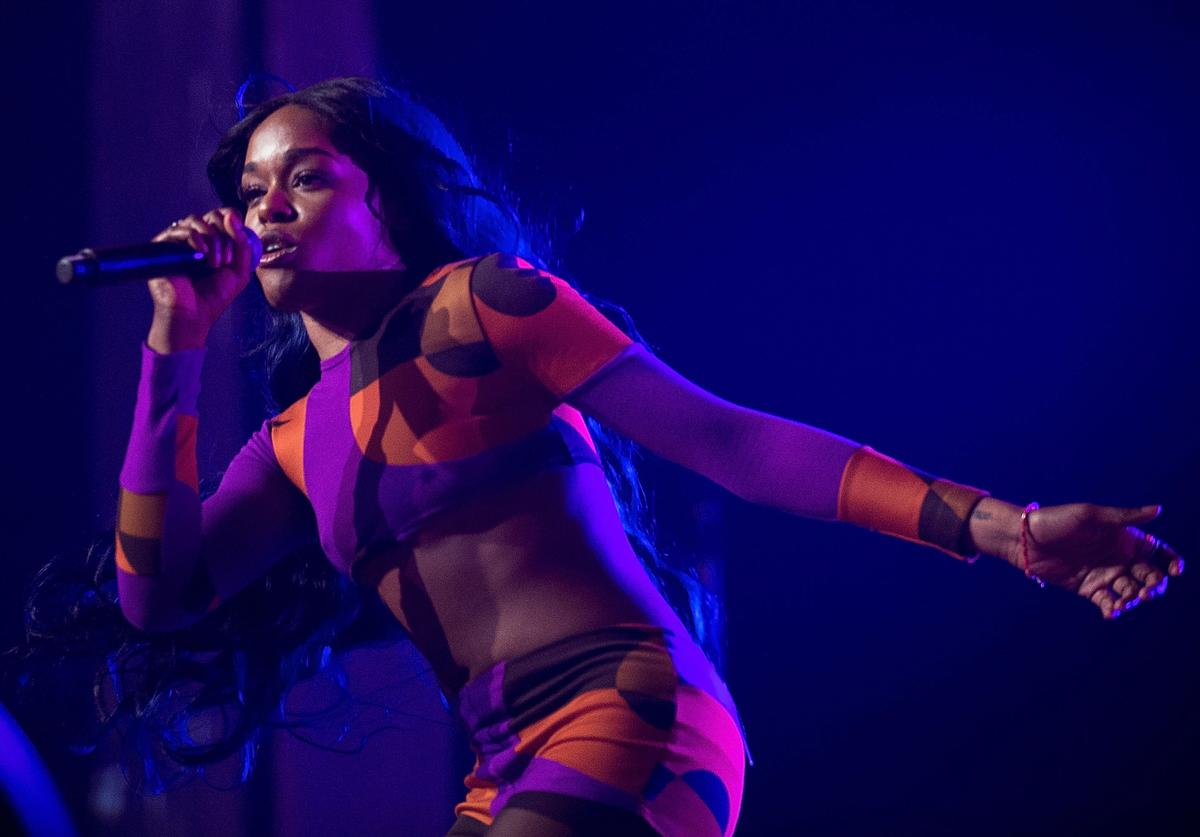 Azealia Banks performs for fans during Splendour in the Grass