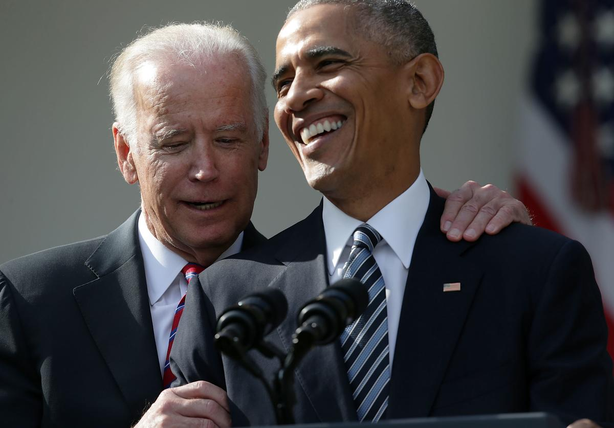U.S. President Barack Obama (R) and Vice President Joseph Biden (L) share a moment during a statement on the election results at the Rose Garden of the White House November 9, 2016 in Washington, DC. Republican presidential nominee Donald Trump has won the election and will become the 45th president of the United States.