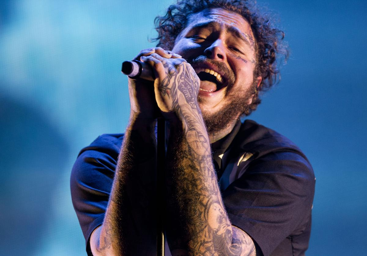 Post Malone performs during the first day of Lollapalooza Buenos Aires 2018 at Hipodromo de San Isidro on March 29, 2019 in Buenos Aires, Argentina.