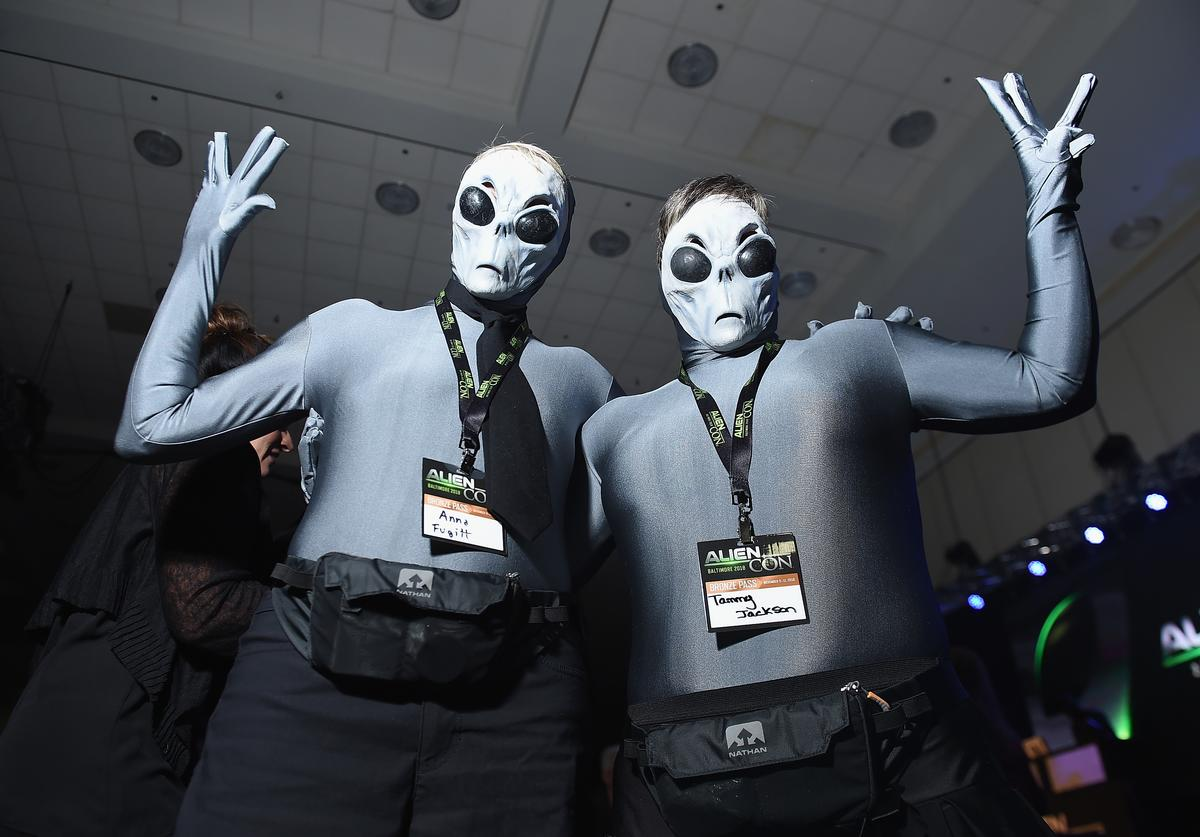 Guests attend the AlienCon Party and Costume Contest during day 2 of AlienCon Baltimore 2018