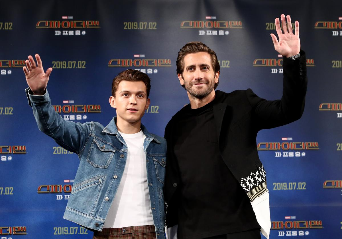 Actors Tom Holland and Jake Gyllenhaal attend the press conference for 'Spider-Man: Far From Home' South Korea Premiere on July 01, 2019 in Seoul, South Korea.