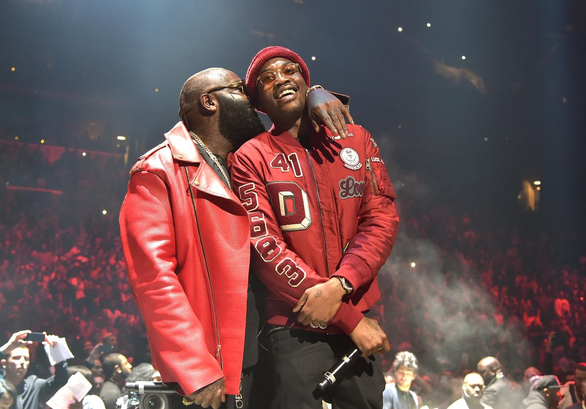 Rick Ross (L) and Meek Mill perform onstage during TIDAL X: 1020 Amplified by HTC at Barclays Center of Brooklyn on October 20, 2015 in New York City