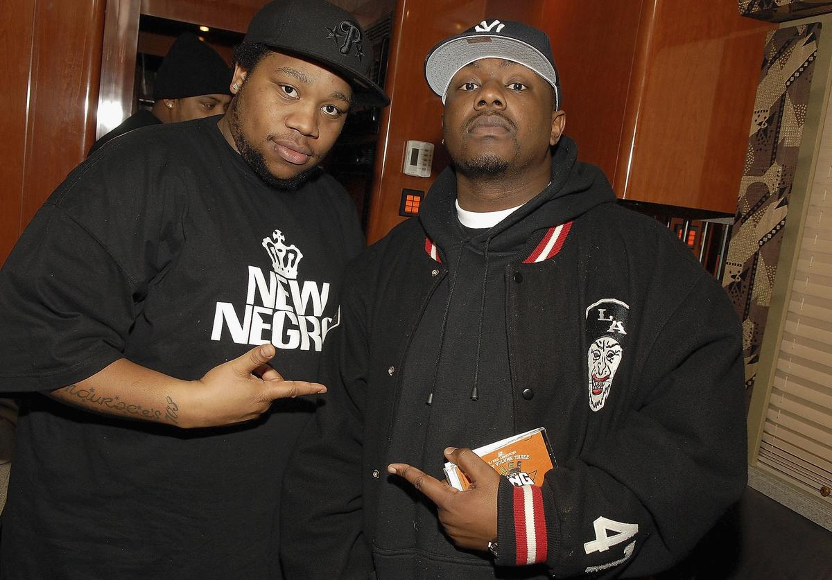 Little Brother members Big Pooh (L) and Phonte attend the Dilated Peoples and Little Brother Performance at S.O.B.'s