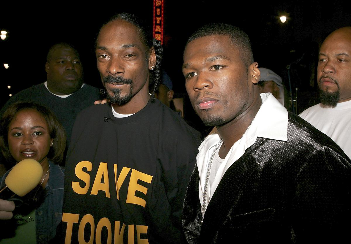 "Snoop Dogg and actor/Singer Curtis ""50 Cent"" Jackson arrive at the Premiere Of ""Get Rich Or Die Trying"" at Grauman's Chinese Theater on November 2, 2005 in Hollywood, California"
