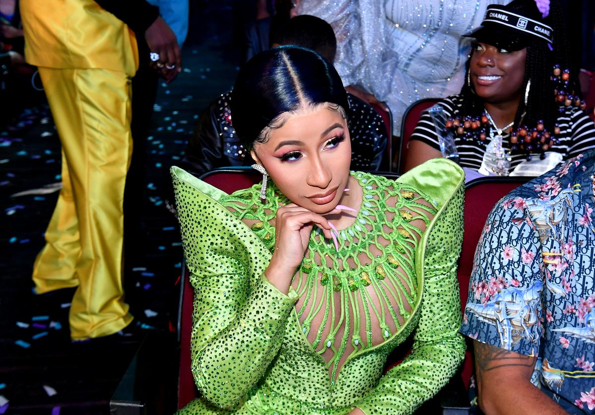 Cardi B seen in the audience at the 2019 BET Awards at Microsoft Theater on June 23, 2019 in Los Angeles, California. (