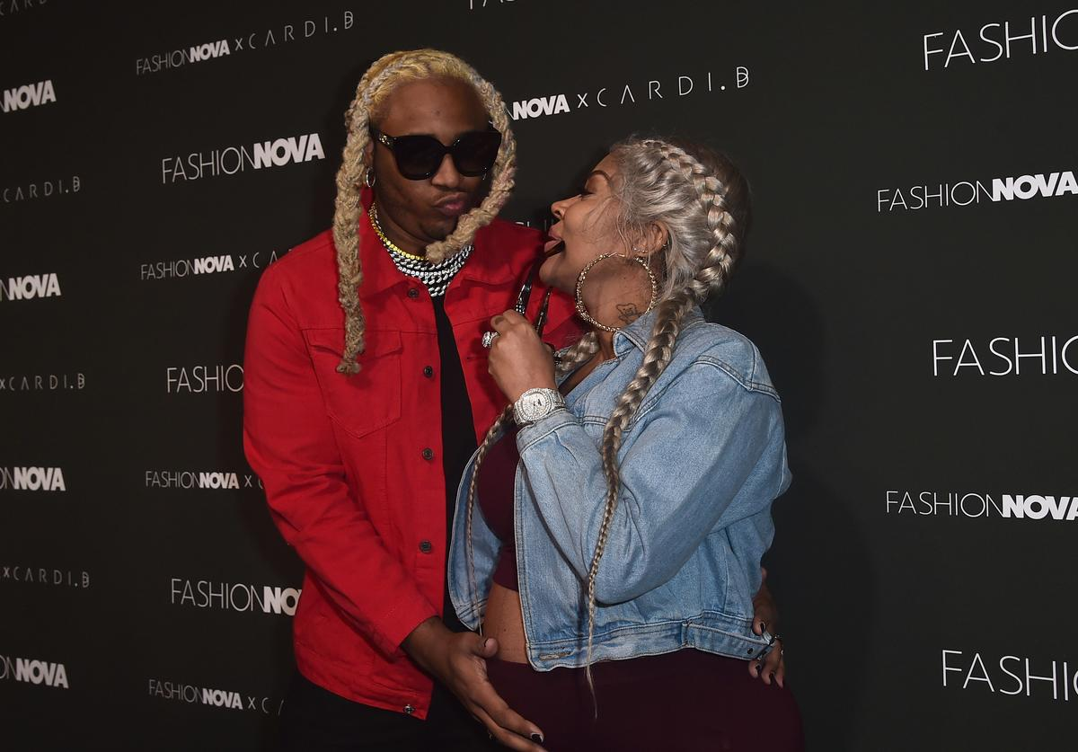 "Floyd ""A1"" Bentley and Lyrica Anderson attend the Fashion Nova x Cardi B Collaboration Launch Event at Boulevard3 on November 14, 2018 in Hollywood, California"